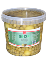 Whole green olives with lemon